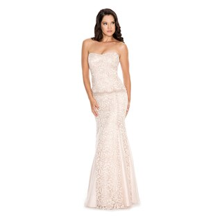 Decode 1.8 Long Strapless Lace Dress with Illusion Waistline