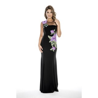 Decode 1.8 Long Evening Dress with Floral Applique