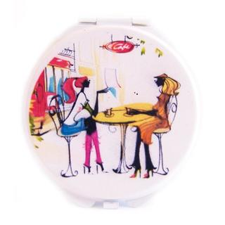 Rucci Round Stylish Metal Compact Mirror (Pack of 3)
