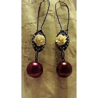 Handmade Antique Bronze Rose Earrings (USA)