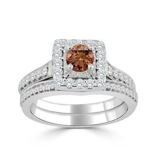 14k Gold Round 1ct TDW Brown Diamond Halo Engagement Ring Set by Auriya