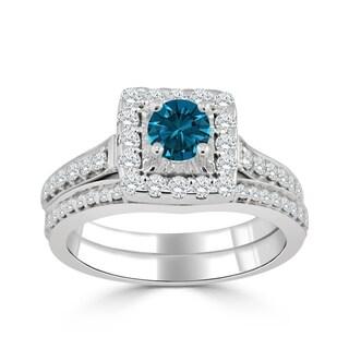 14k Gold Round 1ct TDW Blue Diamond Halo Engagement Ring Set by Auriya