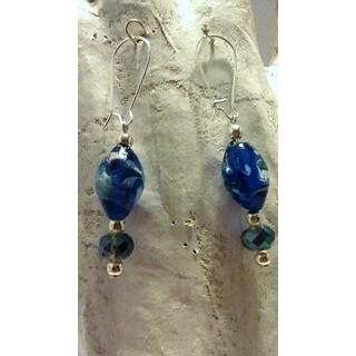 Handmade Blue Aquamarine Glass Earrings (USA)