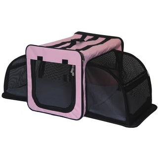 Pet Life Capacious Dual-Expandable Wire Folding Lightweight Collapsible Travel Pet Dog Crate (More options available)