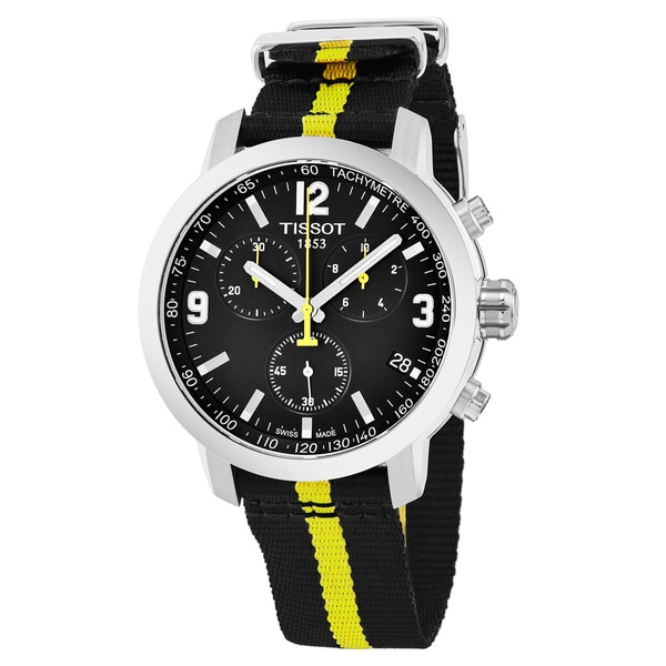 4a6e61a57 Shop Tissot Men's T055.417.17.057.01 'PRC 200' Black Dial Black/Yellow  Fabric Chronograph Swiss Automatic Watch - Free Shipping Today - Overstock  - 17652597