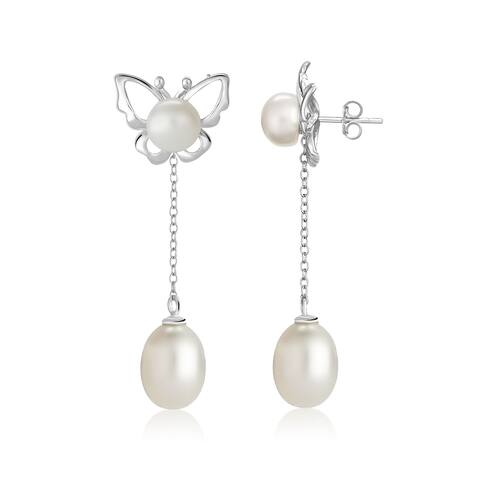 Pearlyta Sterling Silver Interchangeable Butterfly Earring - White