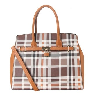 Diophy PU Leather Plaid Pattern Front Lock Décor Large Tote Handbag