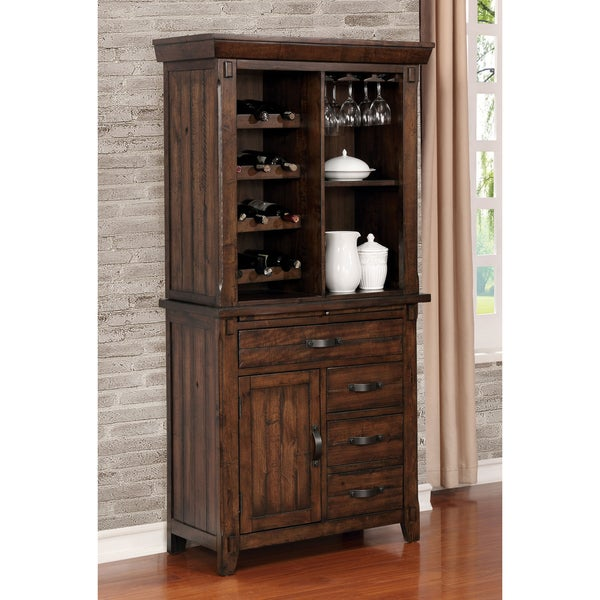 Grover Transitional Brown Cherry Wine Cabinet by FOA