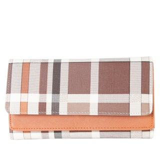 Diophy PU Leather Plaid Pattern Trifold Long Wallet (2 options available)