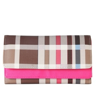 Diophy PU Leather Plaid Pattern Trifold Long Wallet