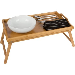 "20"" Bamboo Folding Bed Tray & Laptop Tray With Handles by Trademark Innovations"