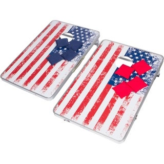 3' Corn Hole & Bean Bag Toss Set - Lightweight & Portable Aluminum - By Trademark Innovations (American Flag, Without Case)