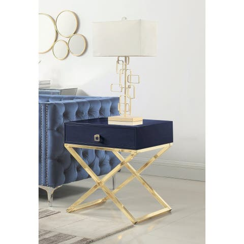 Chic Home Rochester Laquer-finished Stainless Steel/Faux-wood Nightstand Side Table