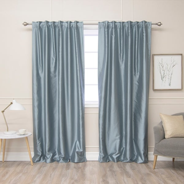 aurora home faux silk blackout lined curtains set of 2