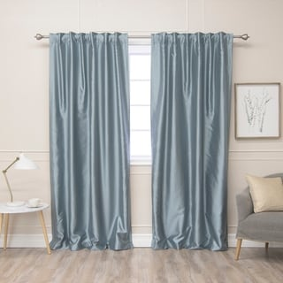 Aurora Home Faux Silk Blackout Lined Curtains, Set of 2