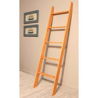 """BrandtWorks 72"""" Handmade Lucus Ebony Stained Wooden Decorative Ladder"""