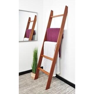 "BrandtWorks 72"" Handmade Lucus English Chestnut Stained Wooden Decorative Blanket Ladder"