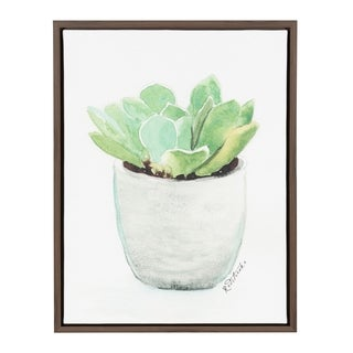 Kate and Laurel Sylvie Succulent in White Pot Brown Framed Canvas Wall Art by Jennifer Redstreake Geary