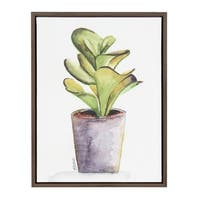 Kate and Laurel Sylvie Succulent in Gray Pot Brown Framed Canvas Wall Art by Jennifer Redstreake Geary
