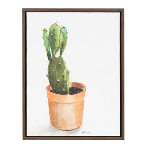 Kate and Laurel Sylvie Cactus in Pot Brown Framed Canvas Wall Art by Jennifer Redstreake Geary
