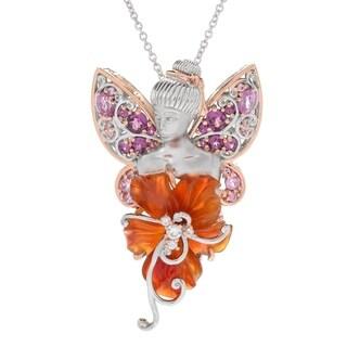 Michael Valitutti Palladium Silver Carved Carnelian Flower & Multi Gemstone Fairy Pendant