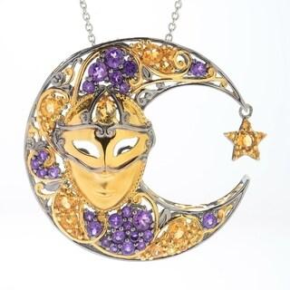 Michael Valitutti Palladium Silver Italy African Amethyst & Citrine Venetian Mask Moon Pendant
