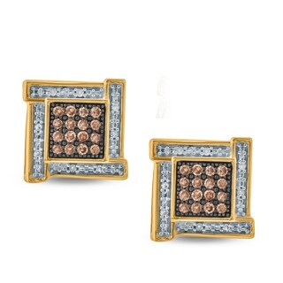 1/5 Carat Diamond Stud Earring In 10K Yellow Gold. - White H-I/Brown