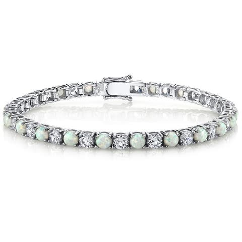 "Oliveti Sterling Silver Created Opal and Cubic Zirconia Women's Eternity Tennis Bracelet 4mm 7.25"" - White"