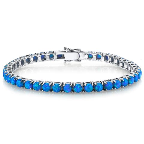 Oliveti Sterling Silver 925 Blue Created Opal Eternity Women's Tennis Bracelet 4mm 7.25""