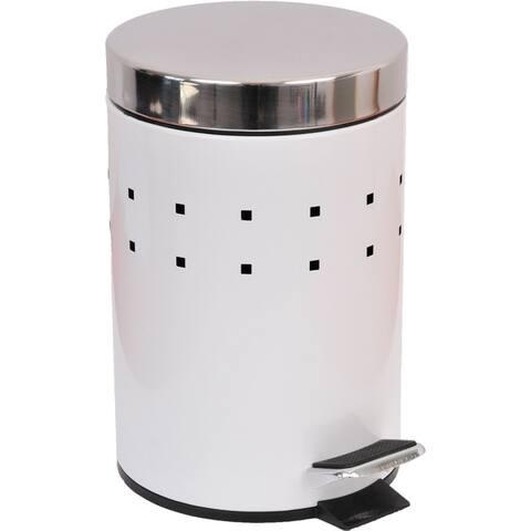Evideco Round Metal bath Floor Step Trashcan Waste Bin