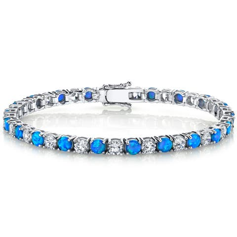 Oliveti Sterling Silver Blue Created Opal and Cubic Zirconia Women's Eternity Tennis Bracelet 4mm 7.25""