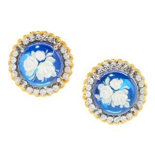 Michael Valitutti Palladium Silver Blue Amber Carved Flower Intaglio Stud Earrings|https://ak1.ostkcdn.com/images/products/17653594/P23865192.jpg?impolicy=medium