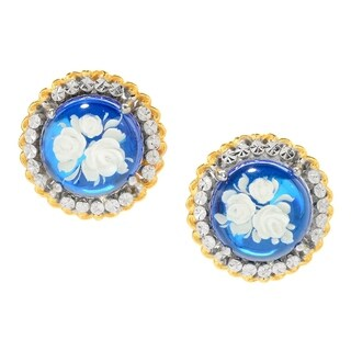 Michael Valitutti Palladium Silver Blue Amber Carved Flower Intaglio Stud Earrings