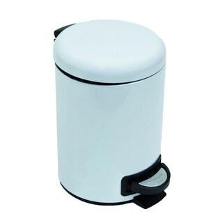 Evideco SOFT Round Metal bath Floor Step Trashcan Waste Bin 3-liters/0.8-gal (White)