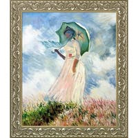 Claude Monet 'Woman with a Parasol' (Facing Left) Hand Painted Oil Reproduction