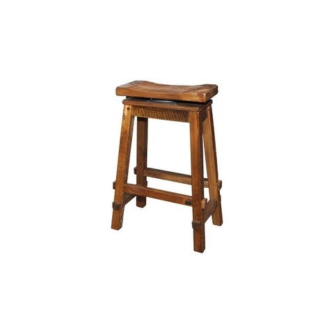 Reclaimed Barn Wood Bar Height Swivel Saddle Stool -Clear Varnish