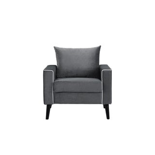 Mid Century Accent Chair Armchair, Velvet Upholstery, Drk Gry/Wt