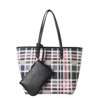 Diophy PU Leather Plaid Pattern Large Shopping Tote with Wallet 2 Pieces Set
