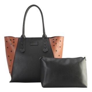 Diophy PU Leather Black Studded Décor 2 Tone Tote Handbag 2 Pieces Set