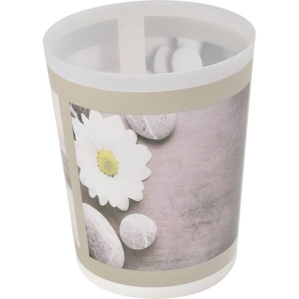 "Evideco Bath Trashcan Waste Bin Zen Garden - Gray, White, Yellow, Multi - 7.68""L x 7.68""W x 9.45 inchesH"