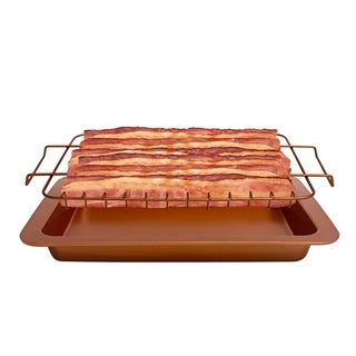 Gotham Steel Bacon Bonanza Healthier Oven Cooked Bacon Non Stick Drip Rack