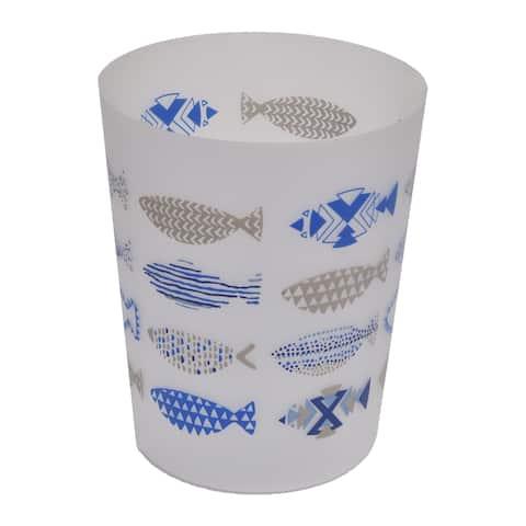 "Evideco Bath Trashcan Nautical Waste Bin - Blue, Multi, White, Beige - 7.68""L x 7.68""W x 9.45 inchesH"