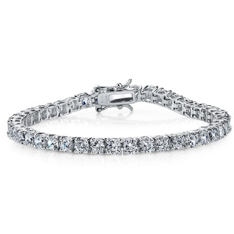 """Oliveti Sterling Silver and Round-Cut Cubic Zirconia Eternity Tennis Bracelet 4mm 7.25"""" - White"""