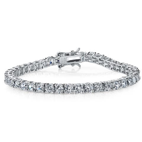 "Oliveti Sterling Silver and Round-Cut Cubic Zirconia Eternity Tennis Bracelet 4mm 7.25"" - White"
