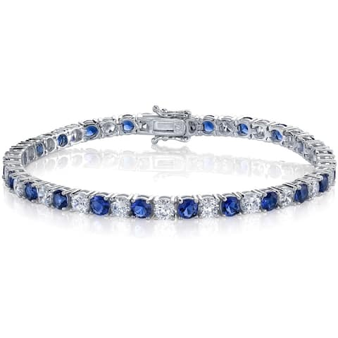 "Oliveti Sterling Silver and Round-Cut Simulated Sapphire Cubic Zirconia Tennis Bracelet 4mm 7.25"" - Blue"