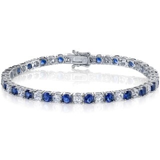 """Oliveti Sterling Silver and Round-Cut Simulated Sapphire Cubic Zirconia Tennis Bracelet 4mm 7.25"""" - Blue"""