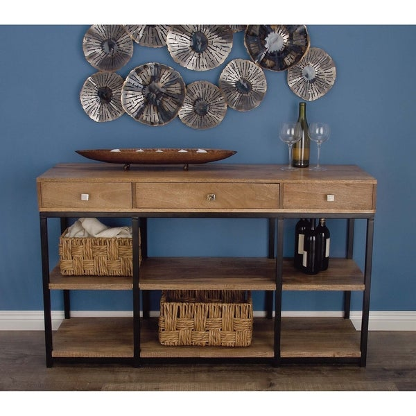 shop rustic natural wood and metal storage console table by studio 350 on sale free shipping. Black Bedroom Furniture Sets. Home Design Ideas