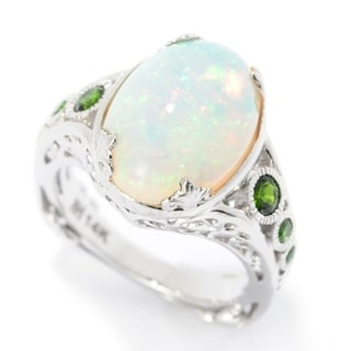 Michael Valitutti 14K White Gold Ethiopian Opal & Chrome Diopside Scrollwork Ring