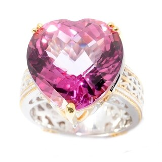 Michael Valitutti Palladium Silver Heart Shaped Martha Rocha Color Topaz Ring
