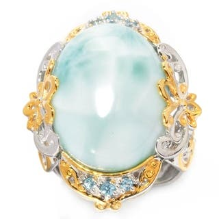 Michael Valitutti Palladium Silver Oval Larimar & Swiss Blue Topaz Ring|https://ak1.ostkcdn.com/images/products/17653893/P23865418.jpg?impolicy=medium